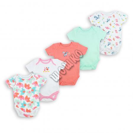 Бебешки бодита Фламинго 5бр.  100% Органичен памук