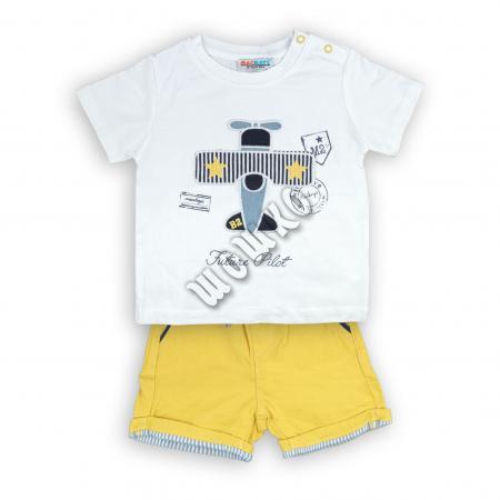 Бебешки комплект с чино панталонки Самолетче