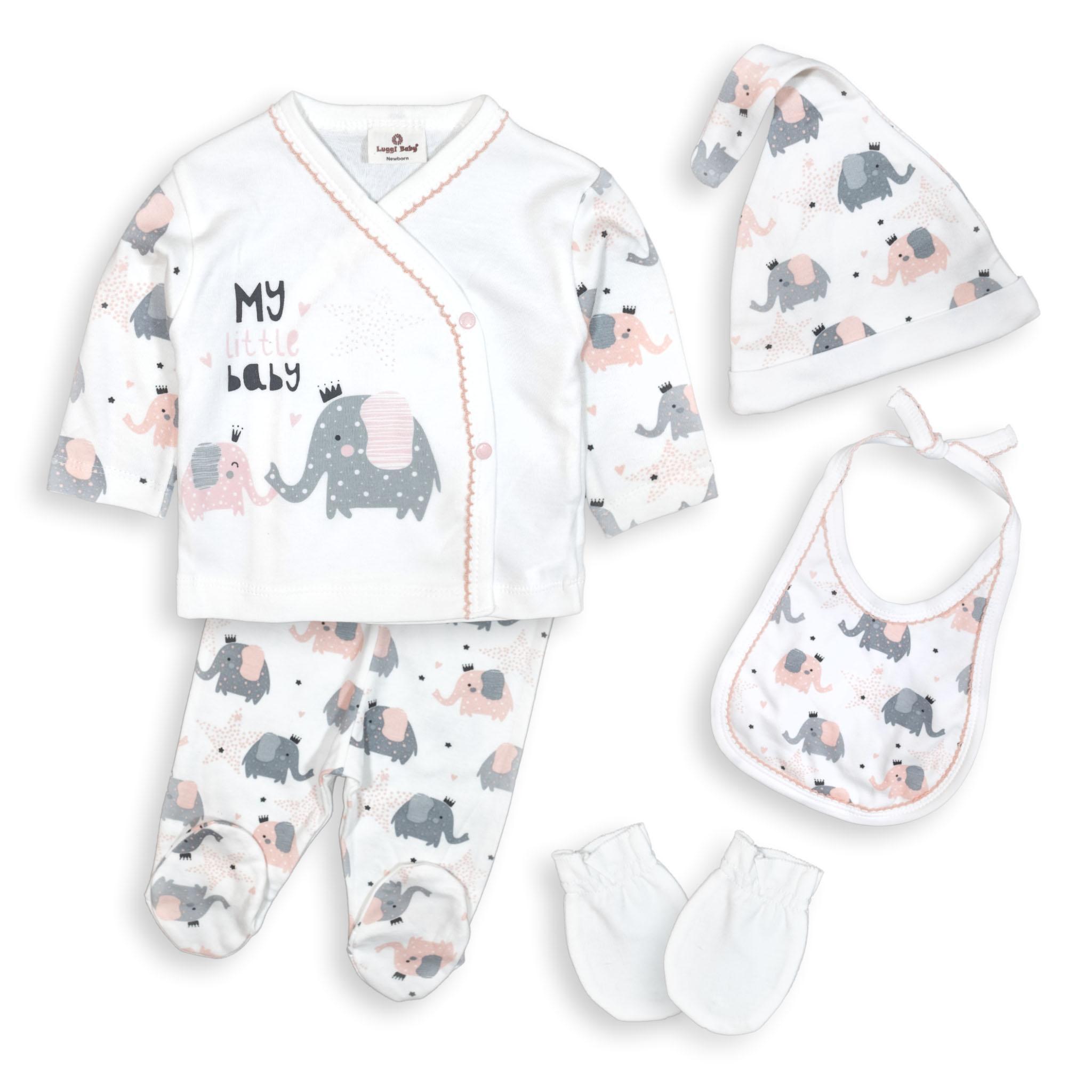 Бебешки комплект за изписване Слонче 100% органичен памук