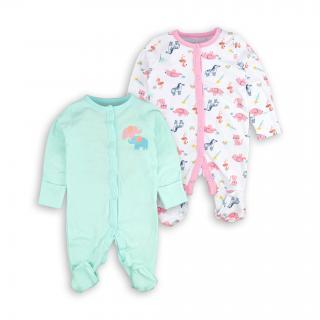 Бебешки ромпърчета Слончета 2бр. 100% Органичен памук